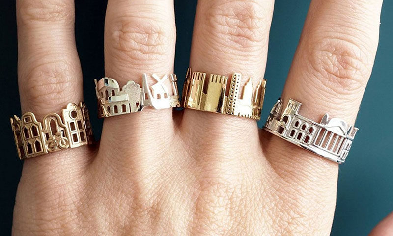 40 Awesome Gift Ideas For Architects And Interior Designers // Rings in the shapes of city skylines