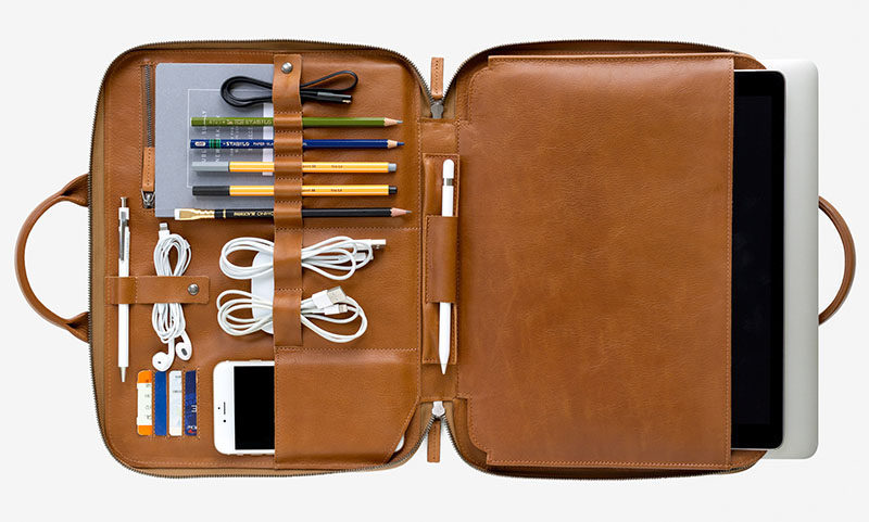40 Awesome Gift Ideas For Architects And Interior Designers // A leather laptop carrying case with room for everything you need when working offsite.