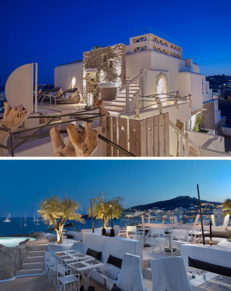 At the top of this hotel in Mykonos, Greece, there's a bar with picturesque 360 degree views of the island.