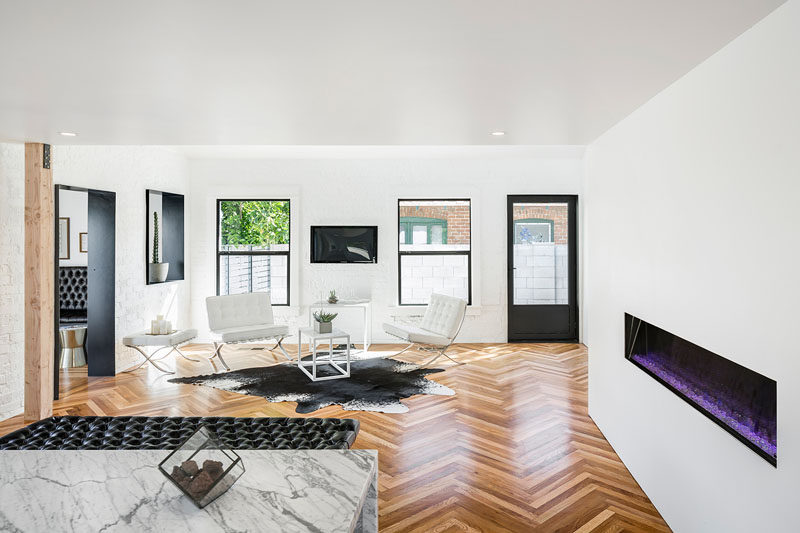 This Herringbone Design Was Created By Using Salvaged Wood Floors That Were  Ripped Out During The Renovation.