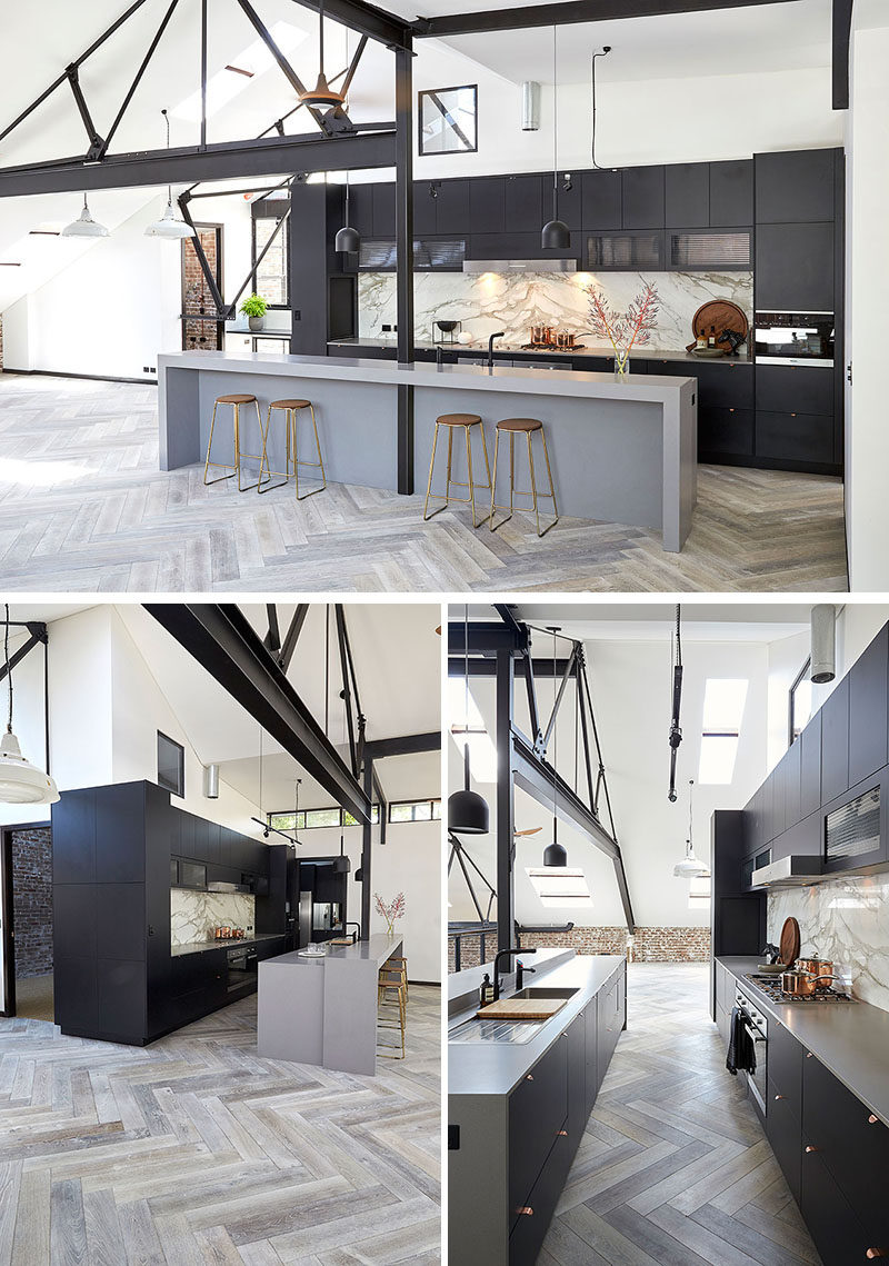 16 Inspirational Pictures Of Herringbone Floors // The herringbone floor in this industrial style kitchen is made up of faux wood tiles in various shades to make the space more dynamic.