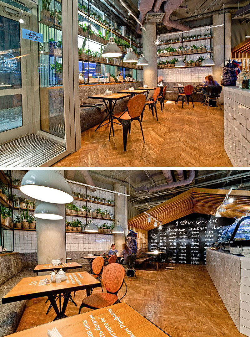 16 Inspirational Pictures Of Herringbone Floors // The floors in this cafe use the traditional herringbone pattern to create a contemporary look.