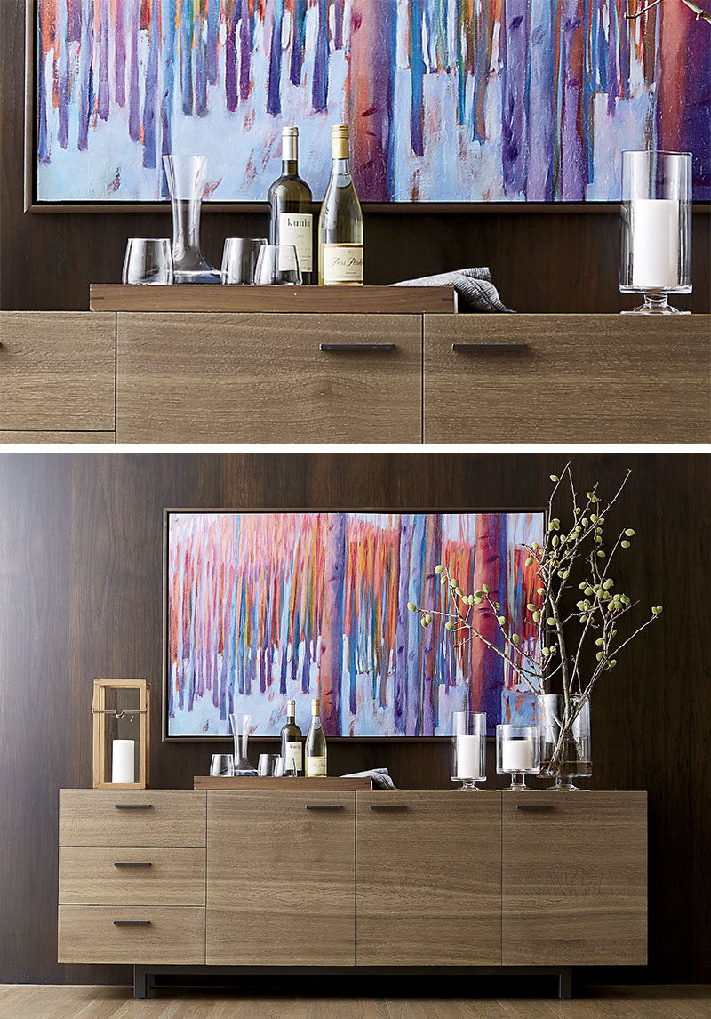 Home Decor Ideas - 6 Ways To Use Serving Trays In Your Decor // As a bar tray, decorated with glassware, wine and a decanter.