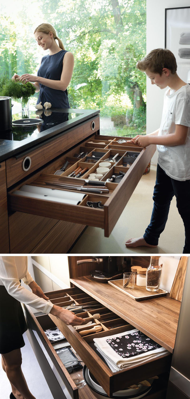 Kitchen Drawer Organization - Design Your Drawers So Everything Has A Place // Well organized drawers like these ones make it easy to find where things go and put them away properly.