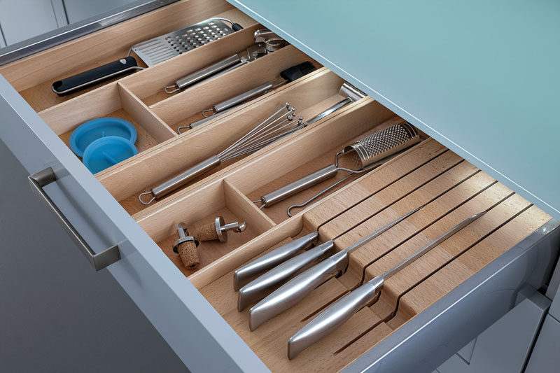 Kitchen Drawer Organization - Design Your Drawers So Everything Has A Place // The blades of the knives stored in this drawer are completely encased by the wood, preventing any accidental cuts and ensuring you pick up the knife from the right spot.