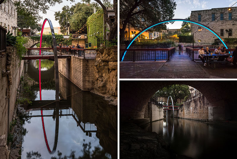 This illuminated arch rises up out of the water and surrounds a foot bridge in Austin, Texas