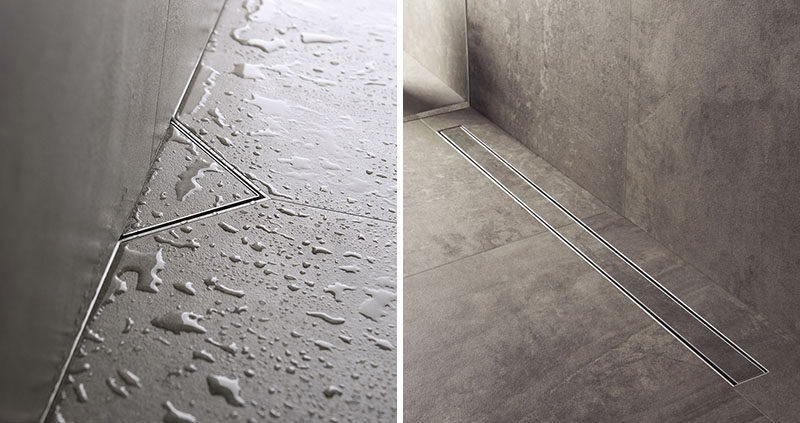 Bathroom Design Idea - Include A Linear Shower Drain // Linear shower drains, also known as infinity shower drains, are drain systems that lie flush with the floor and almost seem to disappear completely. #LinearShowerDrain #InvisibleShowerDrain #BathroomDesign #ShowerDesign #ShowerDrain