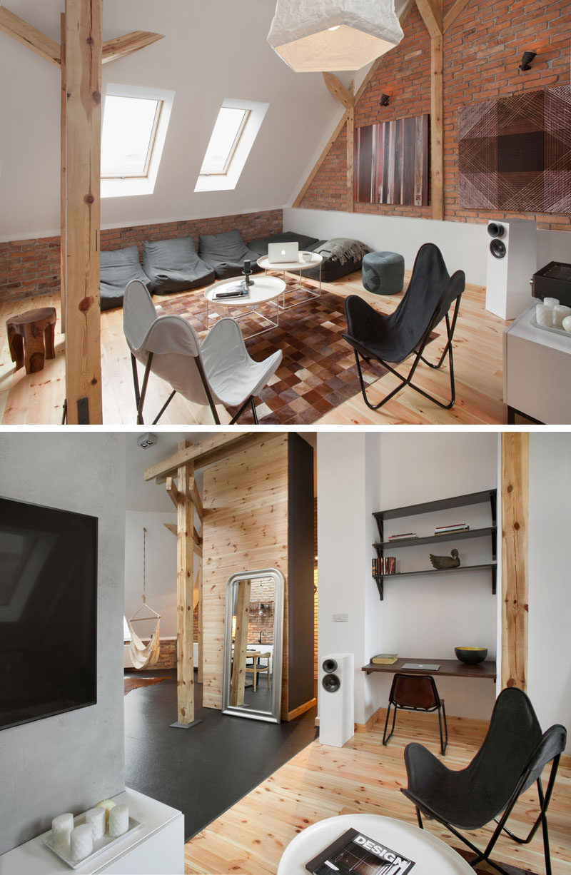 This loft in an old nineteenth century building in Poland was transformed into a contemporary apartment.