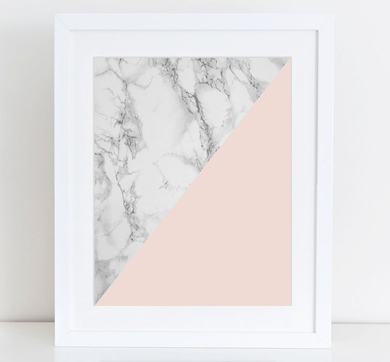 Interior Design Idea - 7 Ways To Bring A Touch Of Marble To Your Living Room // Marble Art Print