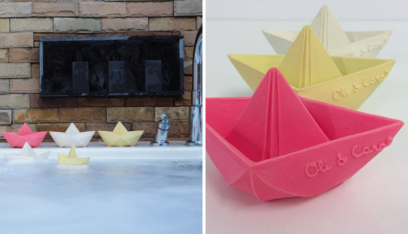 Gift Guide - 30+ Gift Ideas For The Modern Kid In Your Life // These little origami boats are made from natural, biodegradable latex allowing them to float freely around in the tub and are easy to clean, preventing the growth of mold or mildew.
