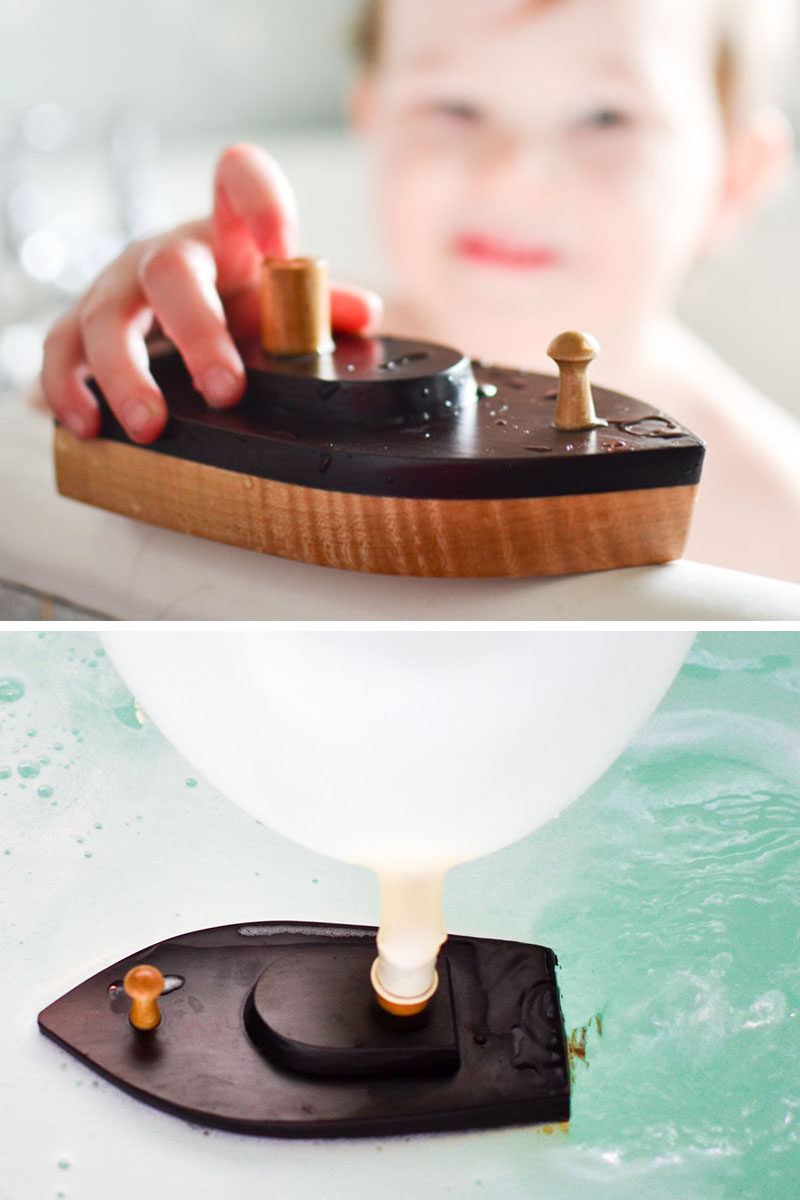 Gift Guide - 30+ Gift Ideas For The Modern Kid In Your Life // These bath-friendly wooden boats are powered by balloons! Blow one up, attach it to the top, and watch as the boat gets propelled in the water.
