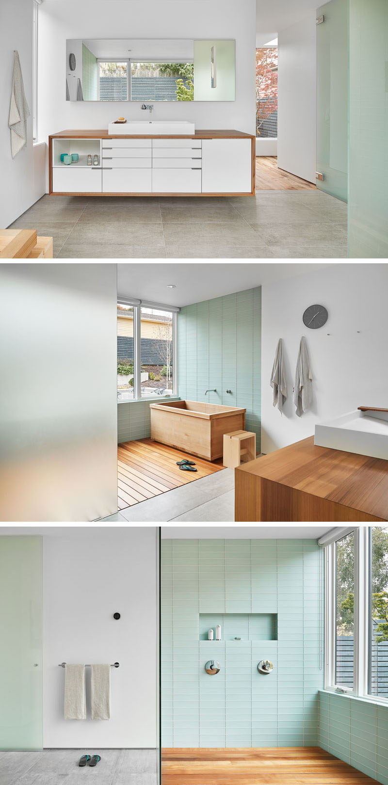 In this bathroom, custom cabinets and the Japanese soaking tub have both been made using Western Red cedar. Pastel green tiles and frosted glass makes the bathroom have a relaxed feeling.