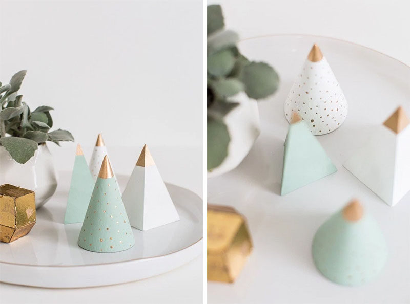 30 Modern Christmas Decor Ideas For Your Home // Create your own modern mini wooden trees with this easy DIY.