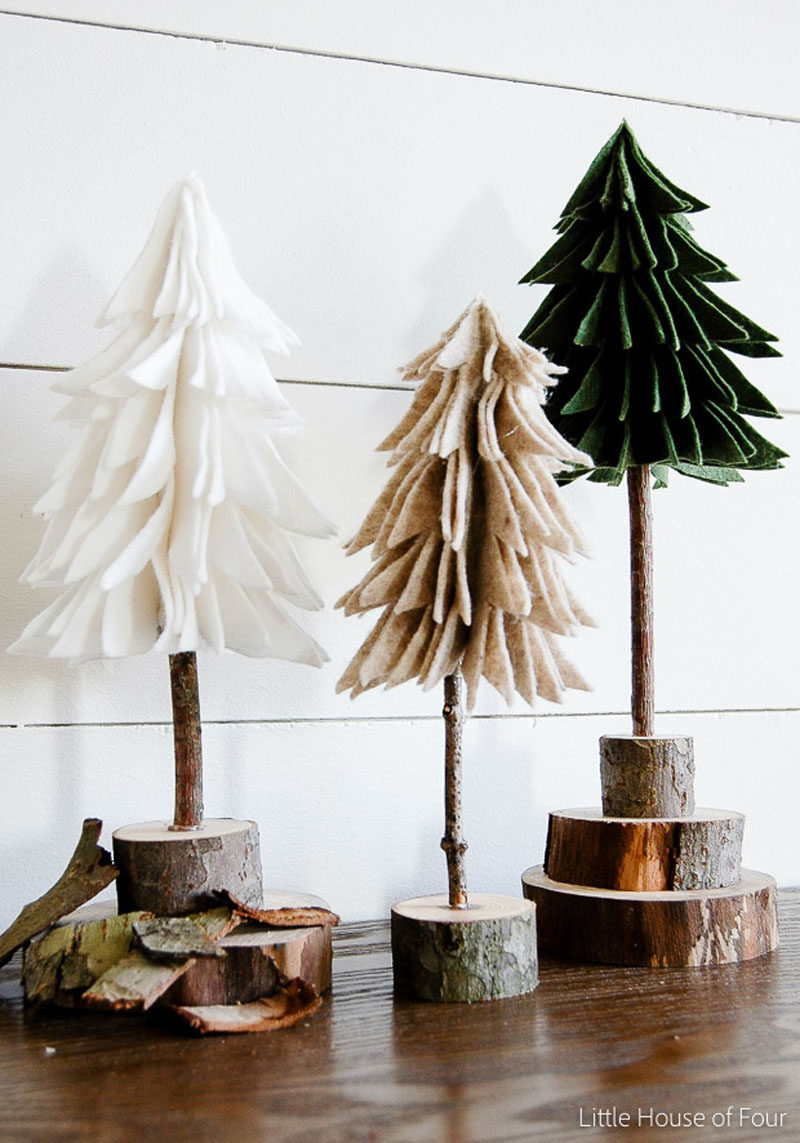30 modern christmas decor ideas for your home these felt and wood trees bring