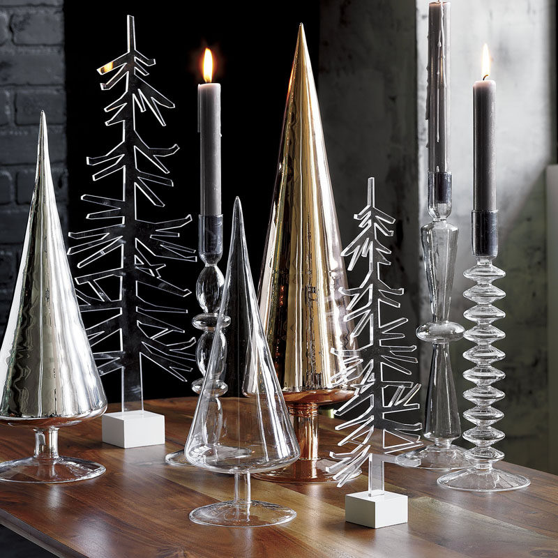 30 modern christmas decor ideas for your home glass trees organized on a table - Modern Christmas Decorating Ideas