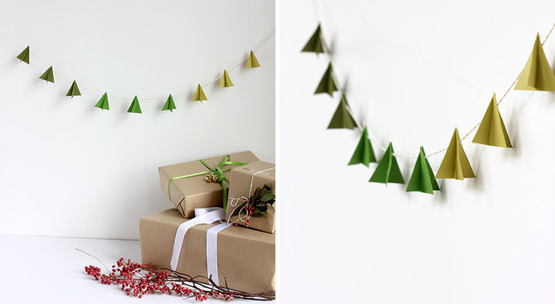 Add Some Minimal Holiday Decor To Your Walls With These Paper Christmas  Trees Hanging From Festive String.