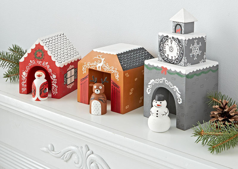 this colorful yet simple christmas village would be perfect in kids rooms or playrooms that need a bit of festive decor