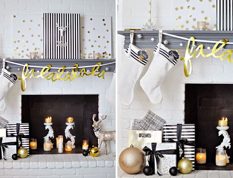 30 Modern Christmas Decor Ideas For Your Home // The black, white, and gold color scheme of this modern mantle bring together a bunch of festive decorations and turn the empty fireplace into a cozy place to gather around.
