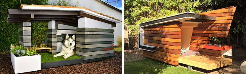 The Dog Re-Treat and the Woof Ranch are contemporary dog houses inspired by the mid-century modern designs of Richard Neutra, Joseph Eichler, and William Krisel.