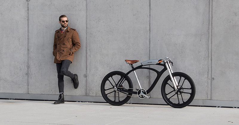 This sleek modern urban electric bike has a battery pack that's also a boombox, can charge your devices and is able to check the air quality around you as you ride.