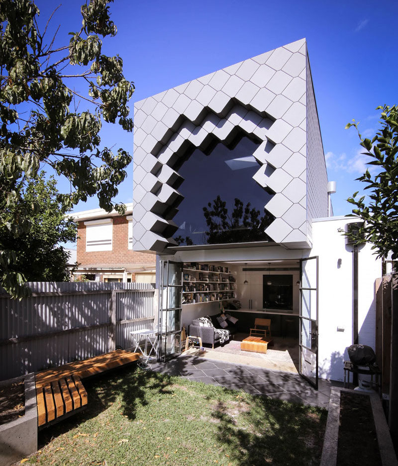 A tessellated pattern was used to create a unique facade for this home addition in Australia.