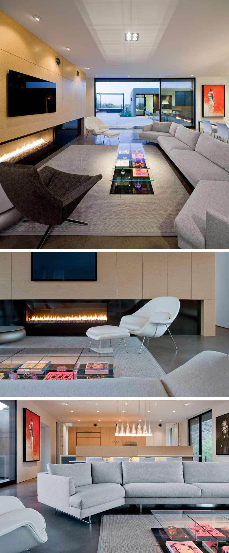 This contemporary living room is focused on wall with a long horizontal fireplace and television.