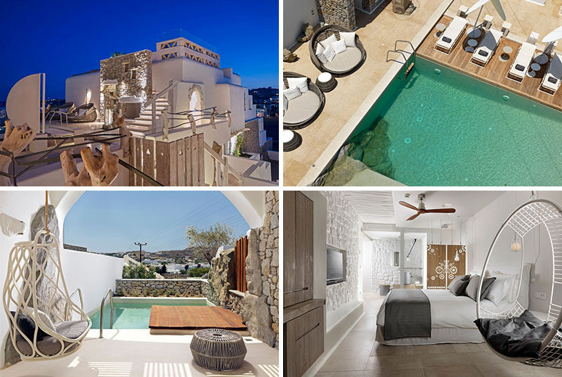 A brand new hotel has recently opened its doors on the island of Mykonos, Greece. The Kensho Boutique Hotel overlooks Ornos Bay and has a contemporary design thanks to interior design firm CMH.