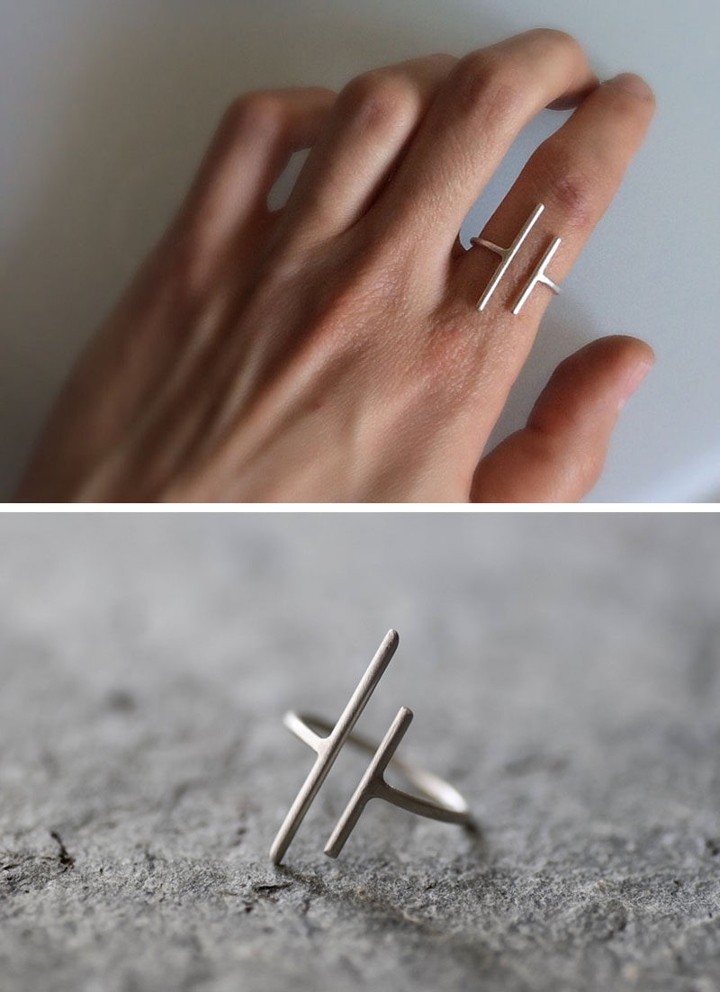 The Ultimate Gift Guide For The Modern Woman (40 Ideas!) // Minimalist rings are great because on their own they make a statement but when they're paired with other rings they don't look too bulky. #ModernRing #MinimalistRing #GiftIdeas