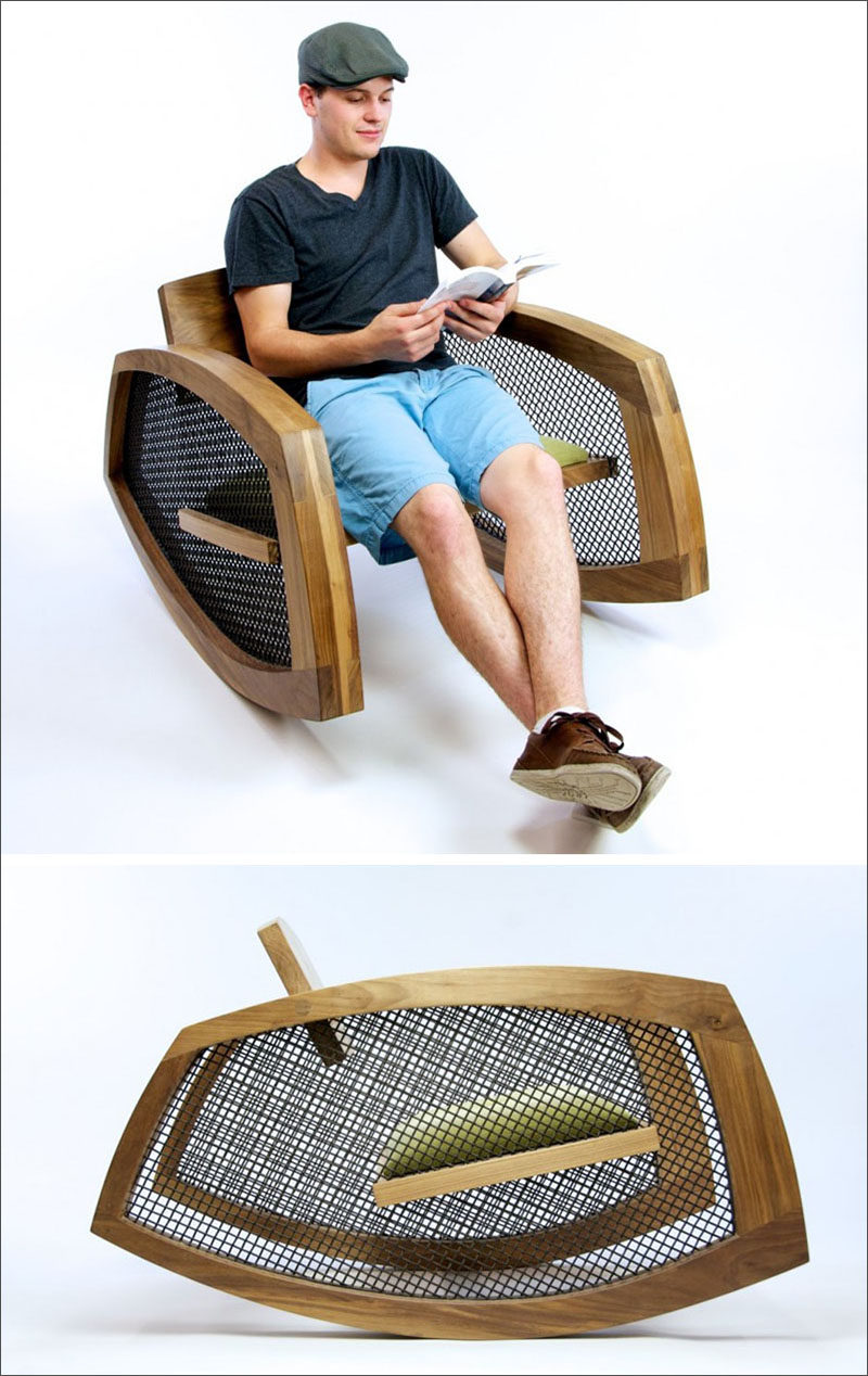 The seat of this modern rocking chair is suspended between the wire mesh that makes up the sides of chair. #ModernRockingChair #RockingChair #SeatingDesign #FurnitureDesign