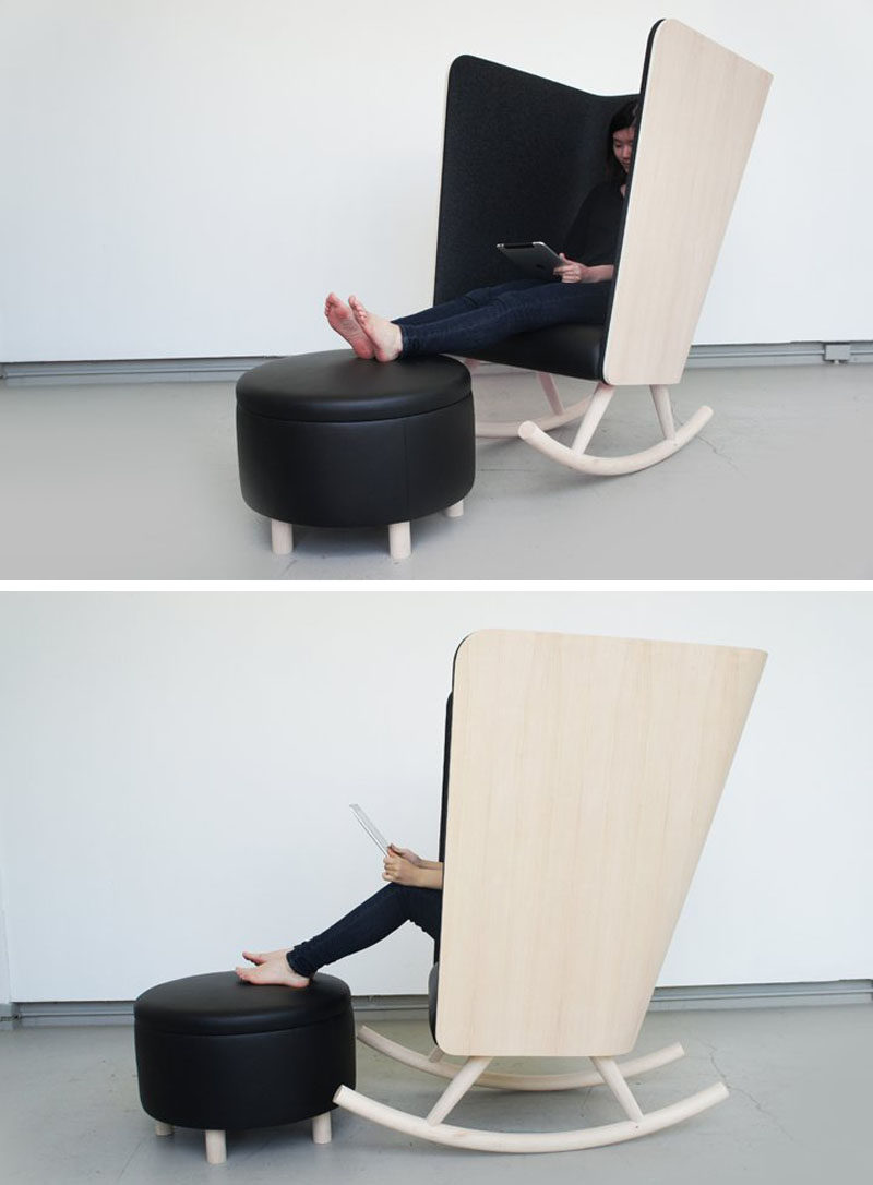 The super high sides and back of this rocking chair and the felt around it create a temporary escape from the rest of the world. #ModernRockingChair #RockingChair #SeatingDesign #FurnitureDesign
