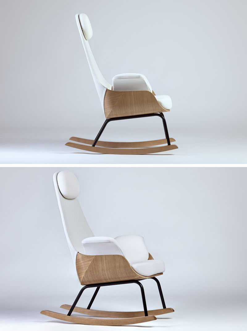 Furniture Ideas - 14 Awesome Modern Rocking Chair Designs // The tall back on this modern rocking chair gives it lots of support and makes it great in a nursery.
