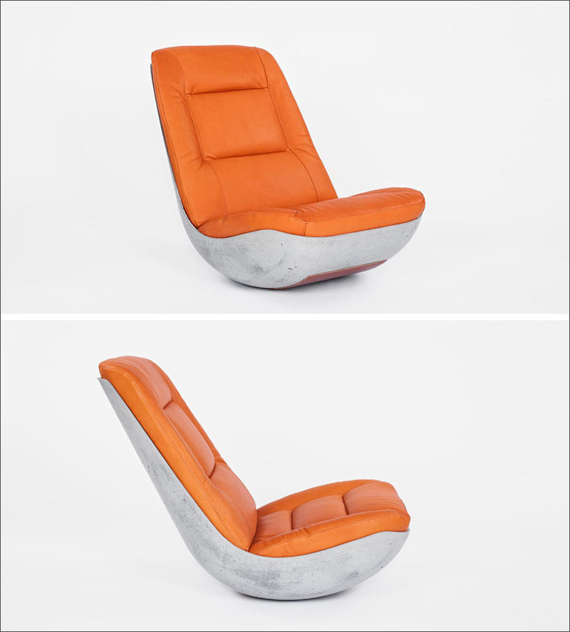 Furniture Ideas - 14 Awesome Modern Rocking Chair Designs // The bottom of this concrete and leather chair is rounded just enough to create a soft rock when you sit in it.