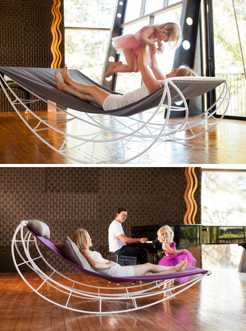 This lounge rocking chair lets you properly sprawl out while gently rocking you back and forth. #ModernRockingChair #RockingChair #SeatingDesign #FurnitureDesign