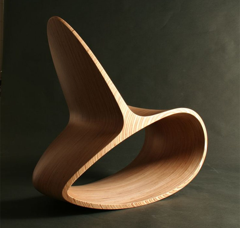 This Sculptural Wood Rocking Chair Is Both A Stylish Seating Solution And Piece Of Modern Artwork