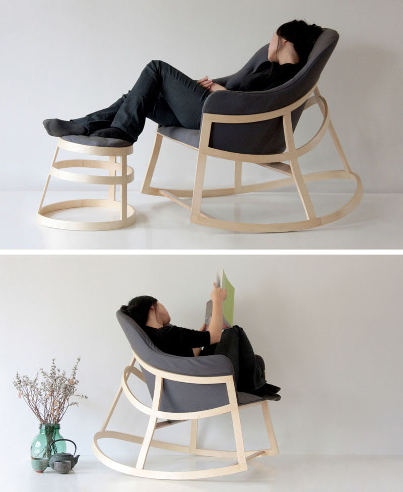 The minimal design of this modern rocking chair makes it the perfect addition to any reading corner. #ModernRockingChair #RockingChair #SeatingDesign #FurnitureDesign