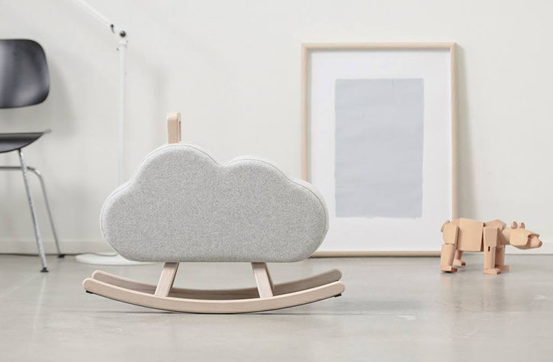 Gift Guide - 30+ Gift Ideas For The Modern Kid In Your Life // This minimal rocking cloud is a simple and stylish alternative to the traditional rocking horse.