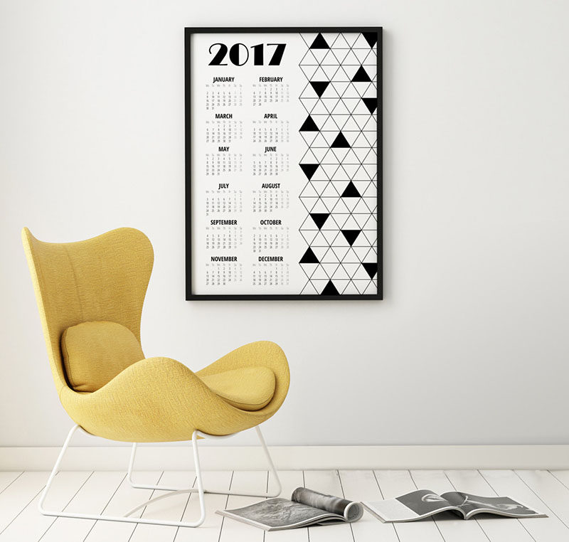 13 Modern Wall Calendars To Get You Organized For 2017 // This printable wall calendar with geometric details would be a perfect addition to a modern home that's in need of a little organizational help.