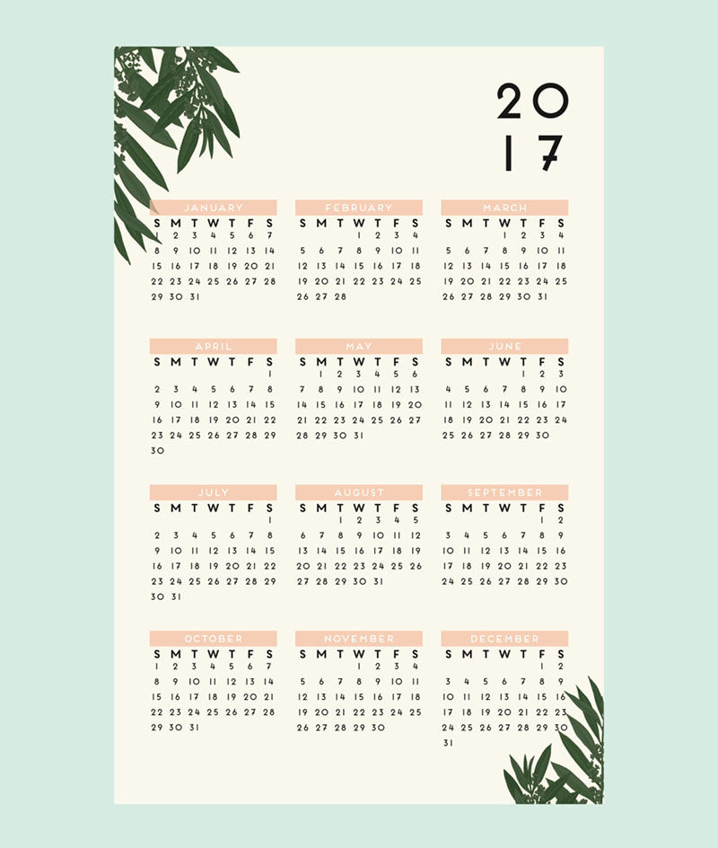13 Modern Wall Calendars To Get You Organized For 2017 // Hang onto the botanical trend all throughout 2017 with this minimal, modern botanical wall calendar.