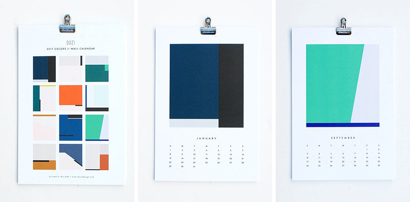 13 Modern Wall Calendars To Get You Organized For 2017 // Simple color blocking on this minimalist calendar adds just the right amount of life to your walls and has enough space between the days to write down important dates.