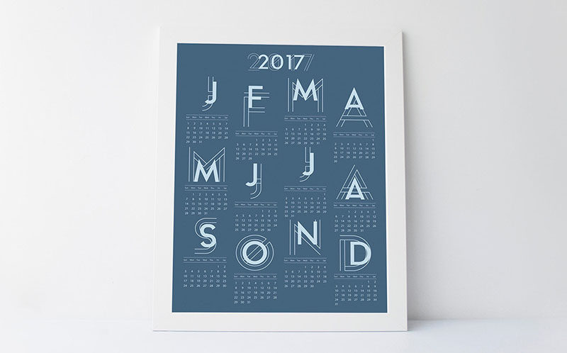 13 Modern Wall Calendars To Get You Organized For 2017 // This calendar is available in a few different warm toned colors to add just a bit of color and graphic design to your walls.