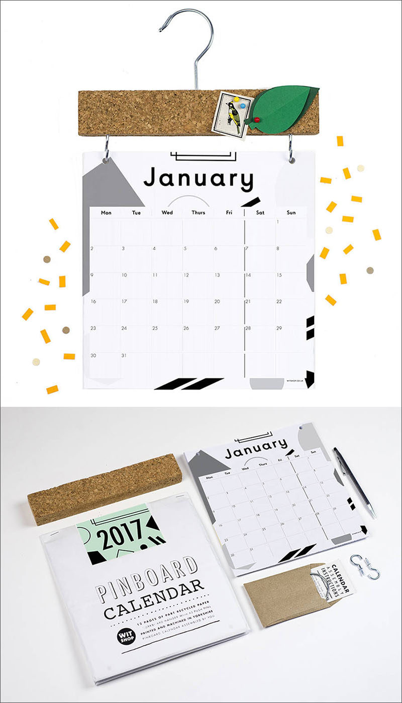 13 Modern Wall Calendars To Get You Organized For 2017 // This graphic calendar comes with a pinboard attachment to create a spot for holding notes and little reminders and make it easy to hang on your wall.
