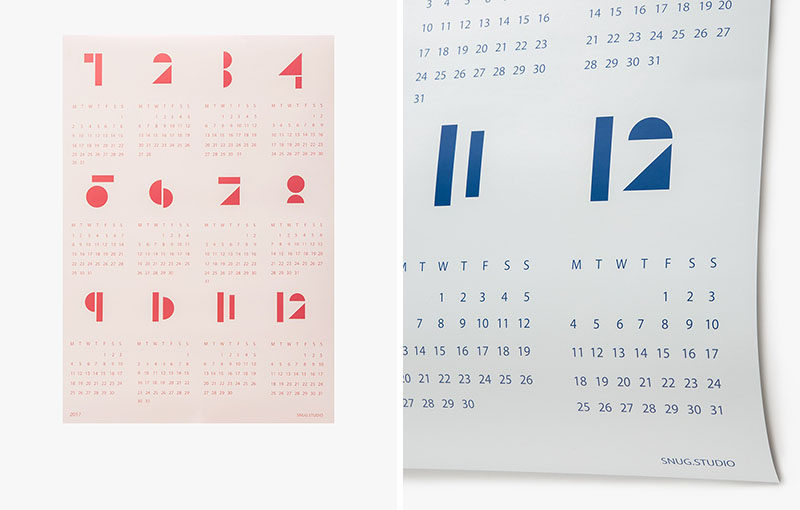 13 Modern Wall Calendars To Get You Organized For 2017 // These large wall calendars feature the months in a graphic numerical form to make the calendar a little more interesting.
