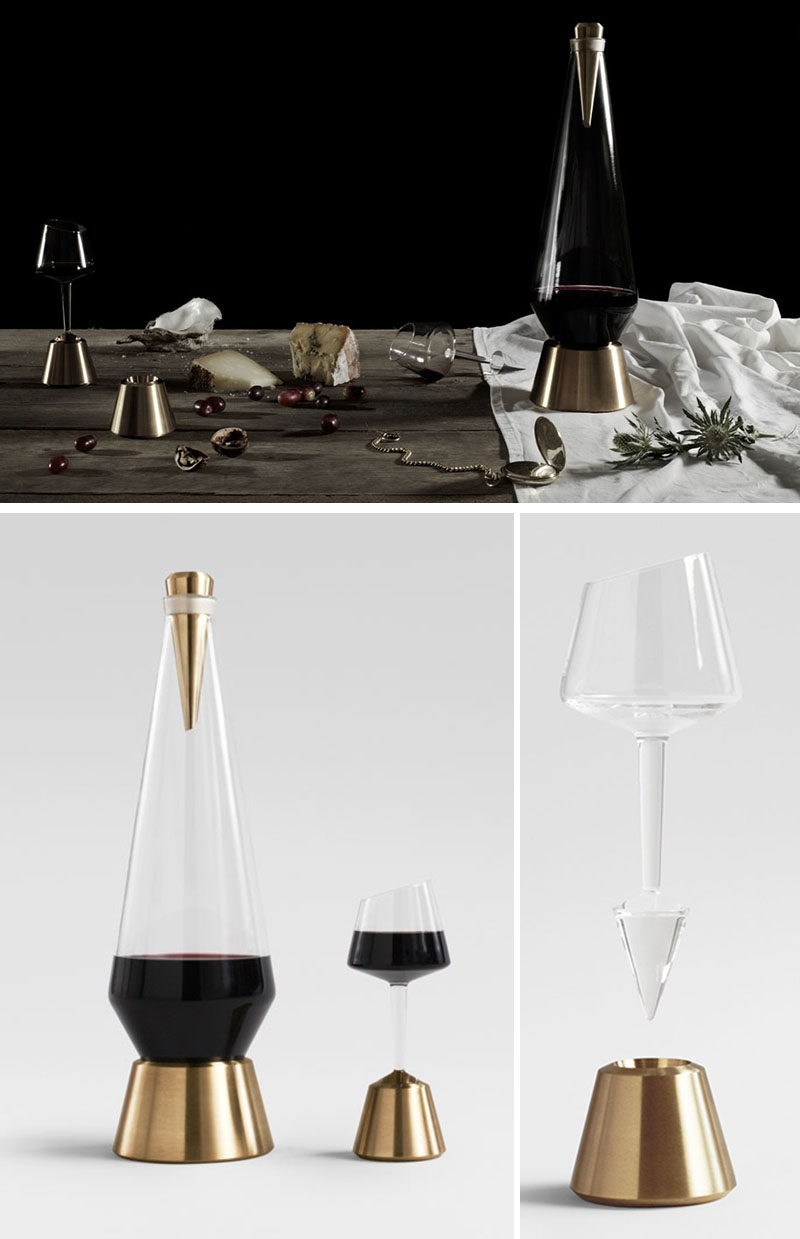 10 Unique Modern Wine Decanters // The bottom of this wine decanter has a point on it that prevents it from being able to sit on the table unless it's perched on its brass base.