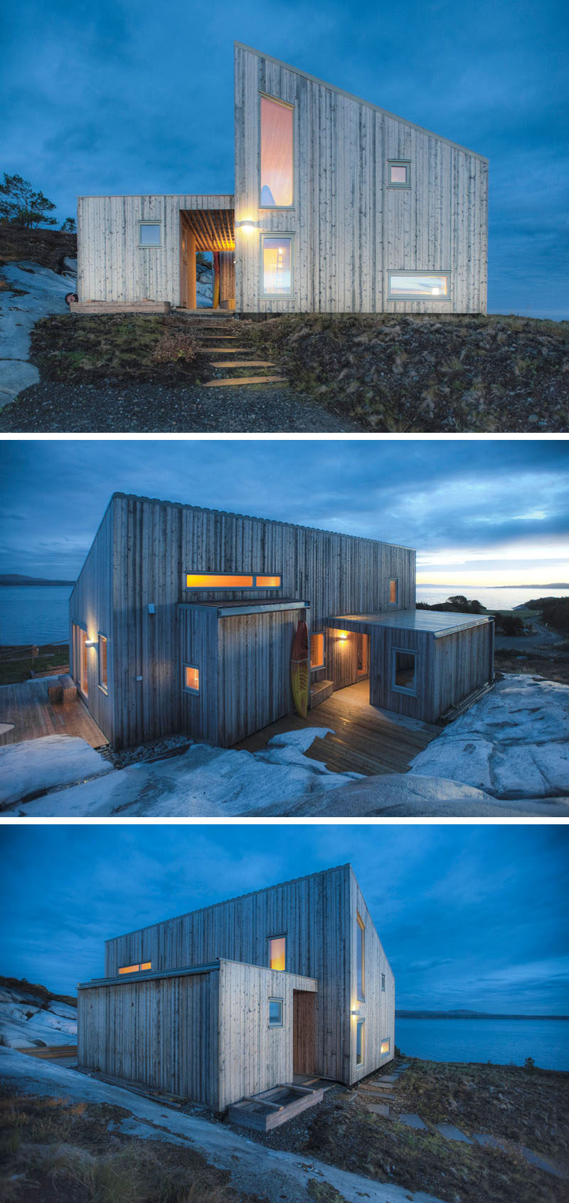 This small wood cabin sits on the rocky coast of Norway