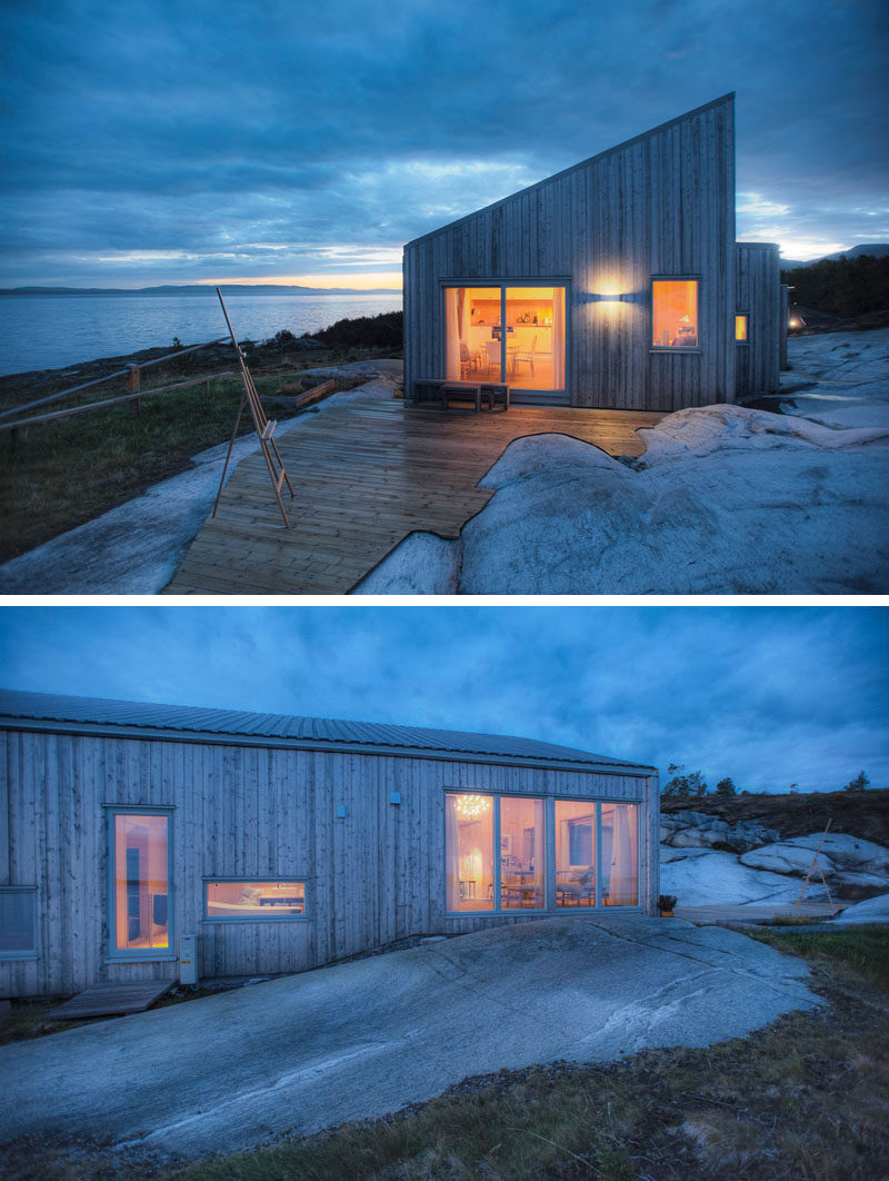 This wooden cabin in Norway was designed to fit in with the surroundings and to avoid interfering with the sensitive terrain.