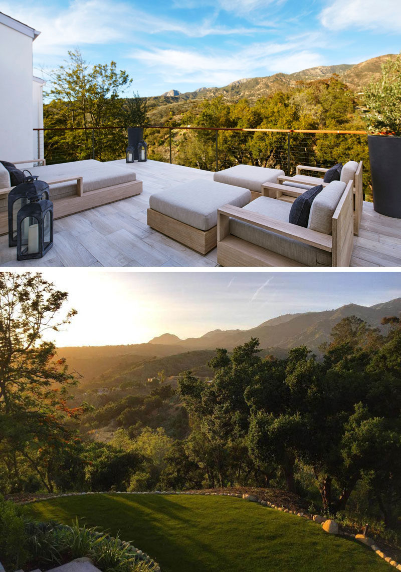 Just off the master bedroom/bathroom in this contemporary home, is a private balcony with views of the trees and the backyard below.