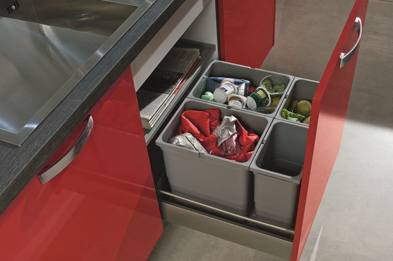 Kitchen Design Idea - Hide Pull Out Trash Bins In Your Cabinetry // Multiple bins help you separate your garbage, recycling, and compost but keep it all in one place.