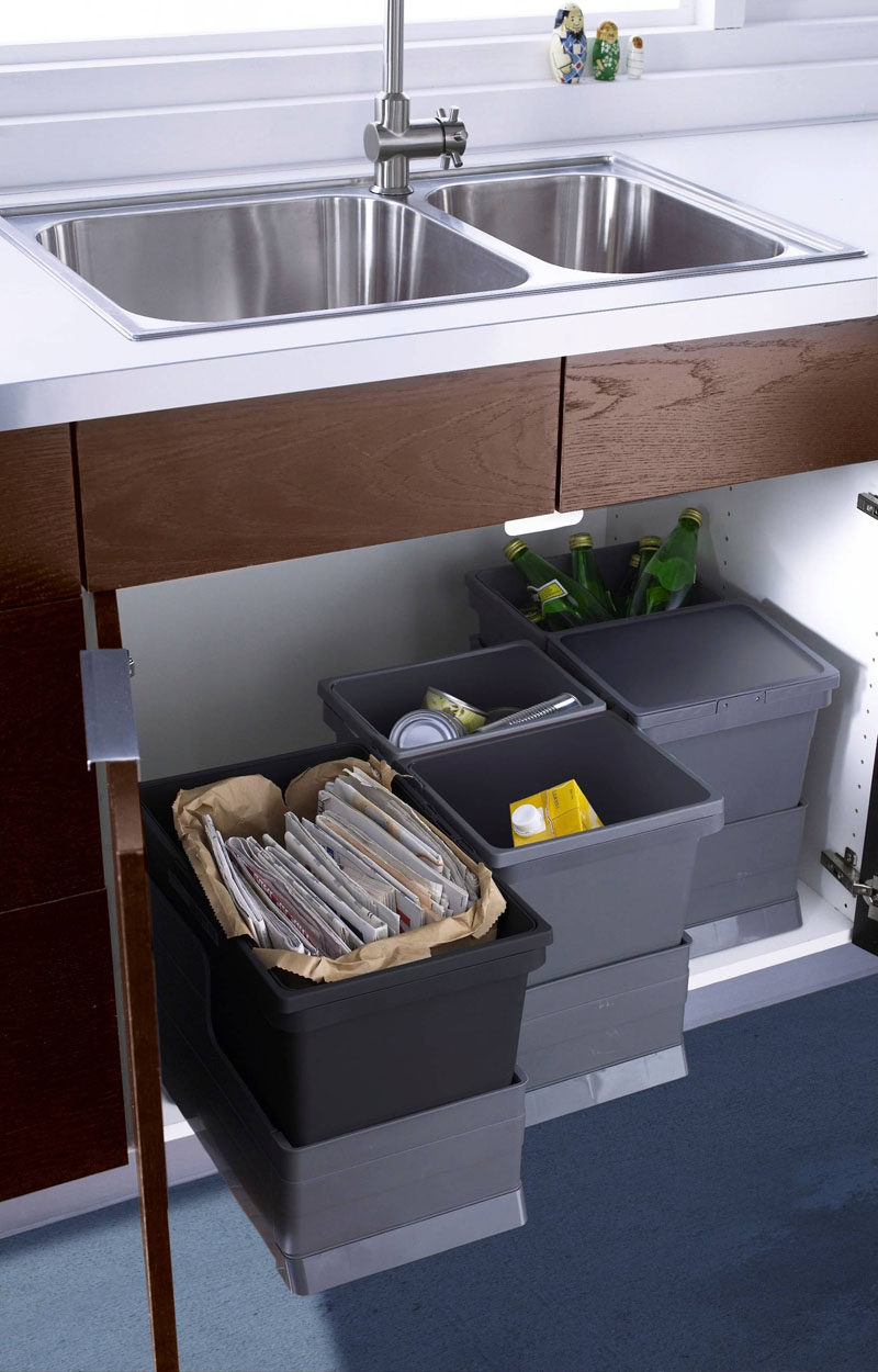 Kitchen Design Idea - Hide Pull Out Trash Bins In Your Cabinetry // These bins are all on individual sliders under the sink so you only pull the one you need when you need it.