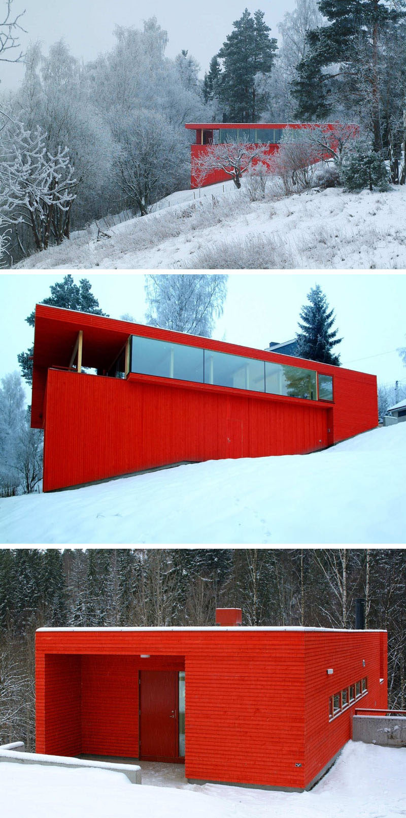 11 Red Houses And Buildings That Aren't Afraid To Make A Statement // Bright red siding covers the exterior of this home and contrasts the snow that covers the ground most of the year.