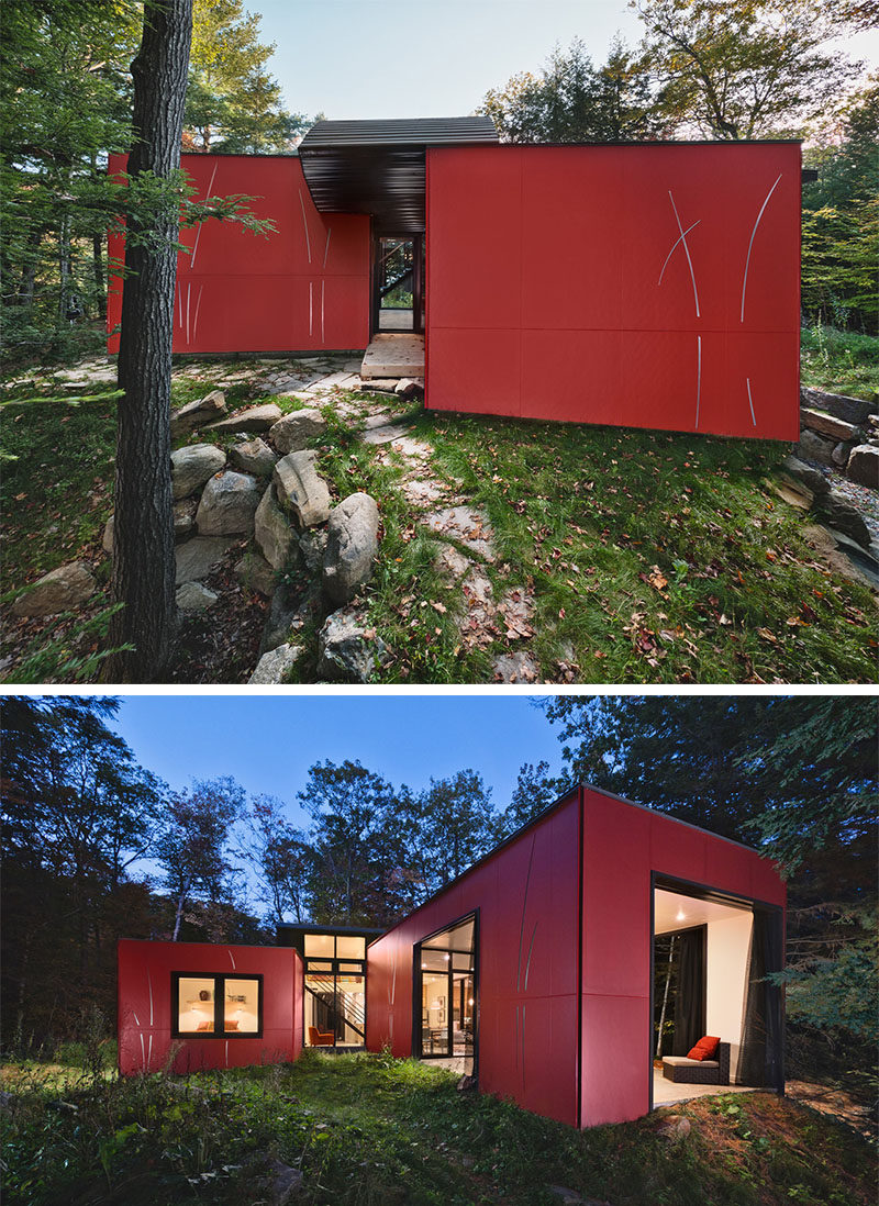 11 Red Houses And Buildings That Aren't Afraid To Make A Statement // This red clad lake-side home serves as a retreat from busy everyday life.